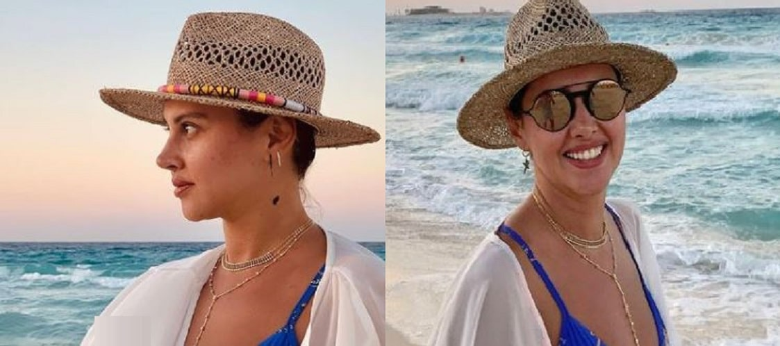 ياسمين رئيس بالكاش مايوه على شاطئ البحر