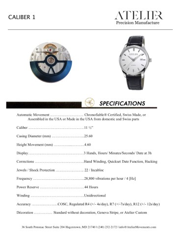 Atelier Caliber 1 Specification Sheet