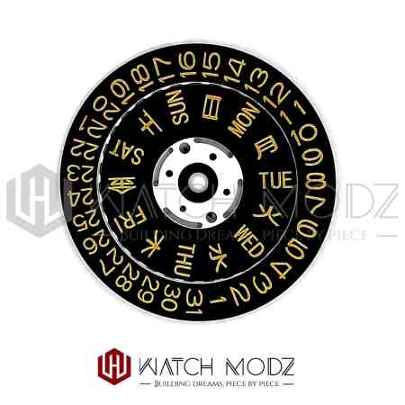 Black and gold Day and date wheel for nh36 movement
