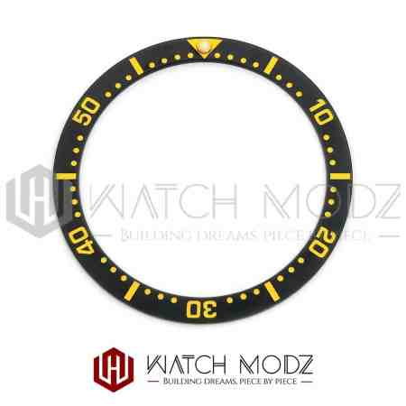 Flat Ceramic Bezel Insert: Black With Gold Numbers SKX007 Style
