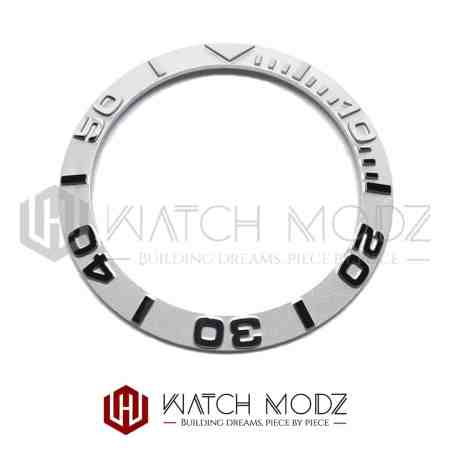 Sloped Bezel Insert: Silver YM Style 3D Numbers