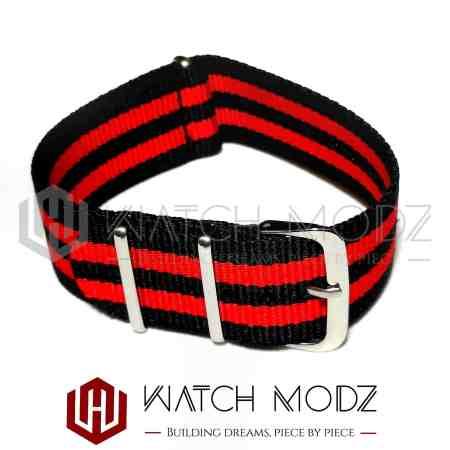 22mm Nato Strap Red/Black