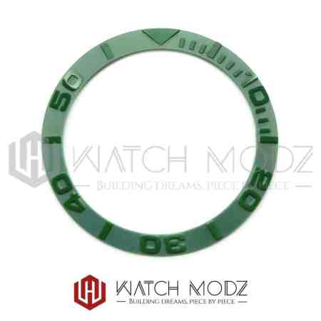 Sloped Ceramic Bezel Insert: Green YM Style 3D Numbers