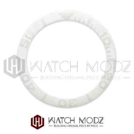 Sloped Ceramic Bezel Insert: White YM Style 3D Numbers