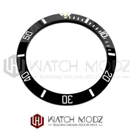 Sloped Ceramic Bezel Insert: Black Sub Style White Numbers