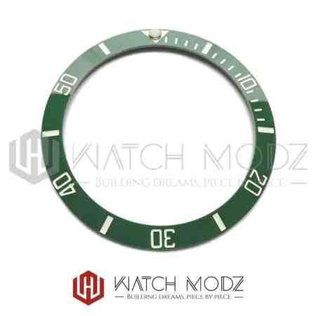 Sloped Ceramic Bezel Insert: Green Sub Style White Numbers