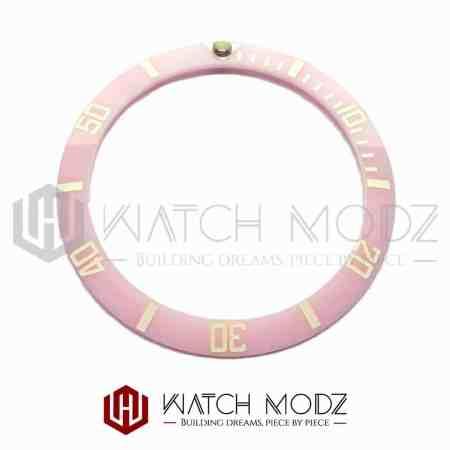 Sloped Aluminum Bezel Insert: Pink Sub Style White Numbers