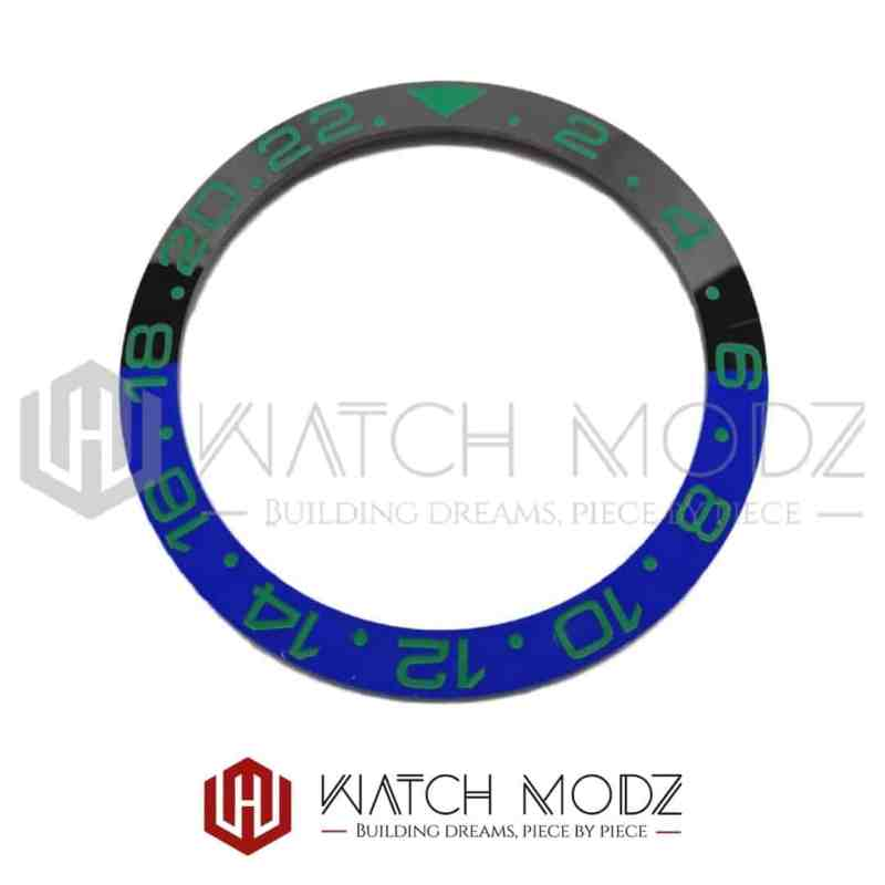 Sloped Ceramic Bezel Insert: Batman GMT Style Green Numbers