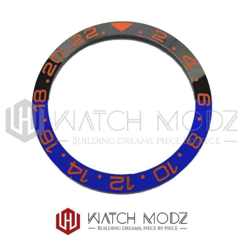 Sloped Ceramic Bezel Insert: Batman GMT Style Sunset Orange Numbers