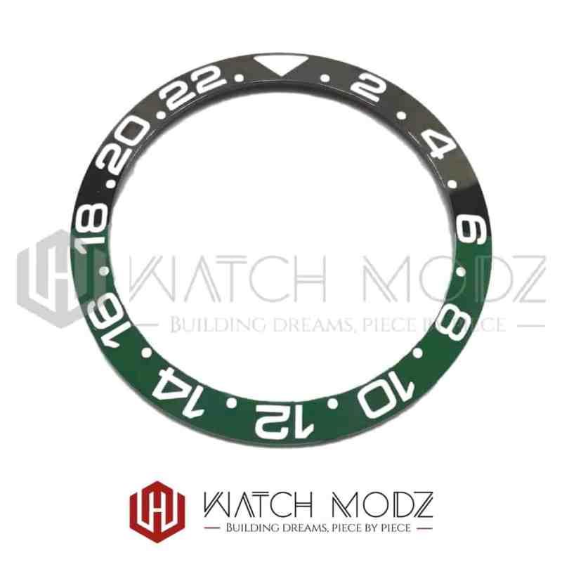 Sloped Ceramic Bezel Insert: Black/Green GMT Style White Numbers