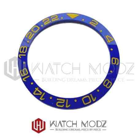 Sloped Ceramic Bezel Insert: Blue GMT Style Gold Numbers