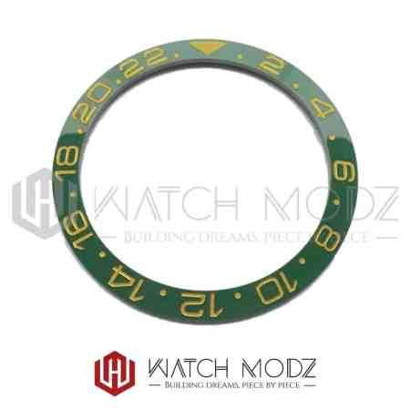 Sloped Ceramic Bezel Insert: Green GMT Style Gold Numbers