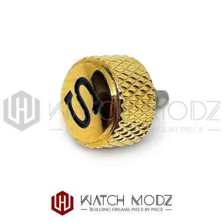 "Gold Knurled ""Black S"" Crown for skx007"