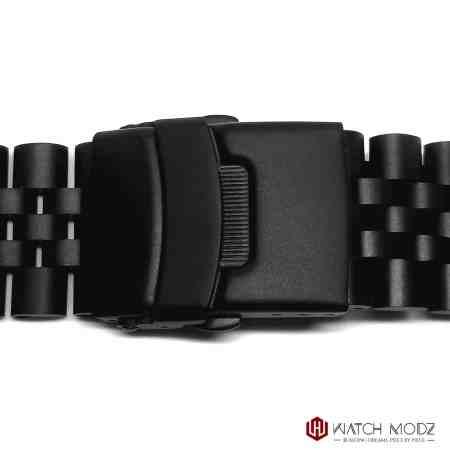 seiko skx007 matte black aftermarket jubilee buckle shot