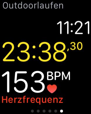 Aktuelle Aktivität mit der aktuellen Herzfrequenz auf der Watch während einer Aktivität, Fabian Geissler, Hack4Life