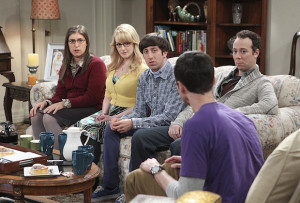 """""""The Matrimonial Momentum"""" -- Sheldon doesn't know how to act after Amy pushes pause on their relationship, on the ninth season premiere of THE BIG BANG THEORY, Monday, Sept. 21 (8:00-8:31 PM, ET/PT), on the CBS Television Network. Pictured left to right: Mayim Bialik, Melissa Rauch, Simon Helberg, Jim Parsons and Kevin Sussman Photo: Sonja Flemming/CBS ©2015 CBS Broadcasting, Inc. All Rights Reserved"""