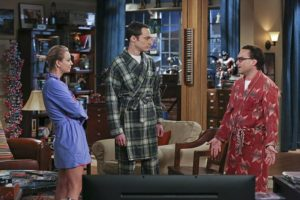 """""""The Separation Oscillation"""" -- Leonard (Johnny Galecki, right) confronts the woman he kissed on the North Sea in an attempt to set Penny's (Kaley Cuoco-Sweeting, left) mind at ease. Also, Sheldon (Jim Parsons, center) films a special episode of """"Fun with Flags"""" after his breakup with Amy, on THE BIG BANG THEORY, Monday, Sept. 28 (8:00-8:31 PM, ET/PT), on the CBS Television Network. Photo: Michael Yarish/Warner Bros. Entertainment Inc. © 2015 WBEI. All rights reserved."""