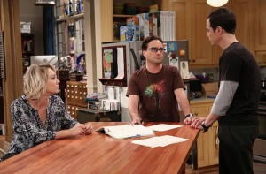 """The 2003 Approximation"" -- Sheldon (Jim Parsons, right) learns of an impending change in his living arrangements and decides to revert back to 2003, a simpler time before he met Leonard (Johnny Galecki, center) and Penny (Kaley Cuoco, left), on THE BIG BANG THEORY, Monday, Oct. 12 (8:00-8:31 PM, ET/PT), on the CBS Television Network. Photo: Darren Michaels/Warner Bros. Entertainment Inc. © 2015 WBEI. All rights reserved."