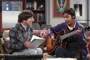 """The 2003 Approximation"" -- Howard (Simon Helberg, left) and Raj (Kunal Nayyar, right) form a band to play at the Comic Book Store, on THE BIG BANG THEORY, Monday, Oct. 12 (8:00-8:31 PM, ET/PT), on the CBS Television Network. Photo: Darren Michaels/Warner Bros. Entertainment Inc. © 2015 WBEI. All rights reserved."