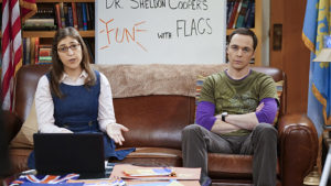 """""""The Valentino Submergence"""" -- Sheldon (Jim Parsons, right) and Amy (Mayim Bialik, left) host a live Valentine's Day episode of Fun with Flag, on THE BIG BANG THEORY, Thursday, Feb. 11 (8:00-8:31 PM, ET/PT), on the CBS Television Network. Photo: Monty Brinton/CBS ©2016 CBS Broadcasting, Inc. All Rights Reserved"""