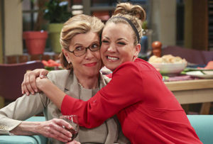 """""""The Line Substitution Solution"""" -- Pictured: Beverly (Christine Baranski) and Penny (Kaley Cuoco). Sheldon hires Stuart to spend the day with Amy when he'd rather go to a movie screening. Also, Leonard's mother, Beverly (Christine Baranski), comes to town and Penny struggles to make a connection with her, on THE BIG BANG THEORY, Thursday, May 5 (8:00-8:31, ET/PT) on the CBS Television Network. Photo: Michael Yarish/CBS ©2016 CBS Broadcasting, Inc. All Rights Reserved"""