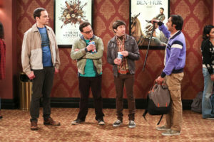 """""""The Line Substitution Solution"""" -- Pictured: Sheldon Cooper (Jim Parsons), Leonard Hofstadter (Johnny Galecki), Howard Wolowitz (Simon Helberg) and Rajesh Koothrappali (Kunal Nayyar). Sheldon hires Stuart to spend the day with Amy when he'd rather go to a movie screening. Also, Leonard's mother, Beverly (Christine Baranski), comes to town and Penny struggles to make a connection with her, on THE BIG BANG THEORY, Thursday, May 5 (8:00-8:31, ET/PT) on the CBS Television Network. Photo: Michael Yarish/CBS ©2016 CBS Broadcasting, Inc. All Rights Reserved"""