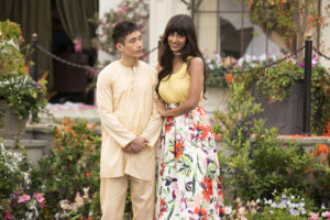 """THE GOOD PLACE -- """"Pilot"""" -- Pictured: (l-r) Manny Jacinto as Jianyu, Jameela Jamil as Tehani -- (Photo by: Justin Lubin/NBC)"""
