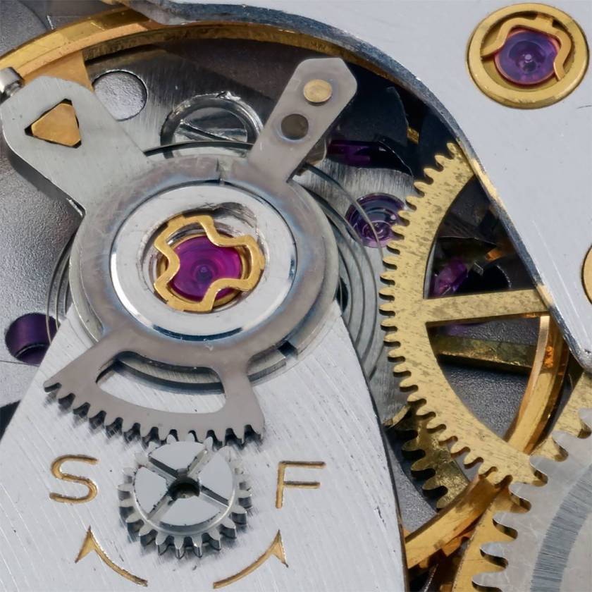 Macro detail of the 5722B movement