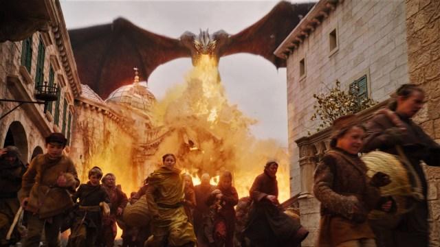 King's Landing Battle 805 Massacre Fire Blood Daenerys Dany Targaryen Drogon Season 8 The Bells
