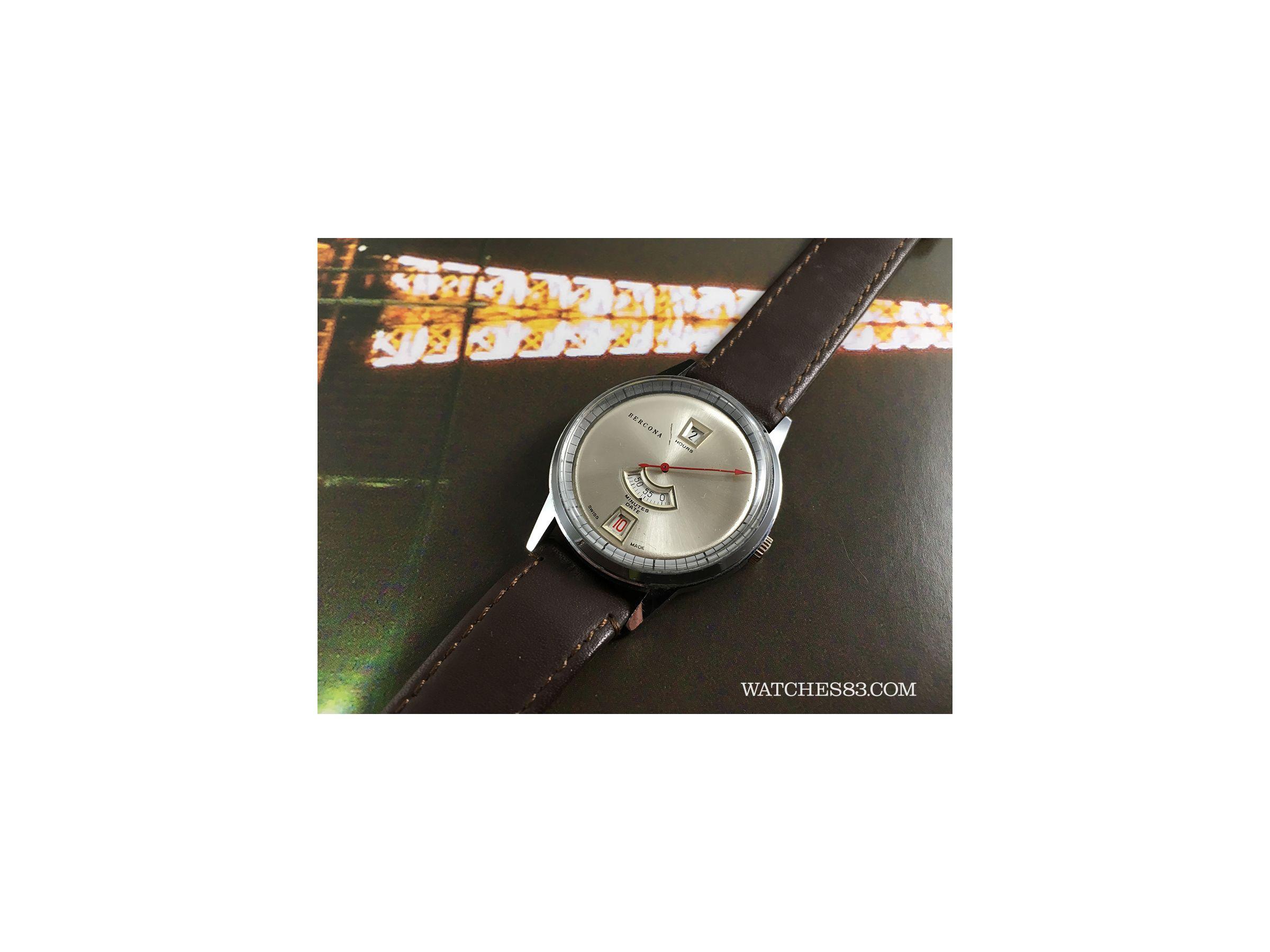 Vintage Swiss Hand Winding Watch Bercona Jump Hour Bercona Vintage Watches Watches83