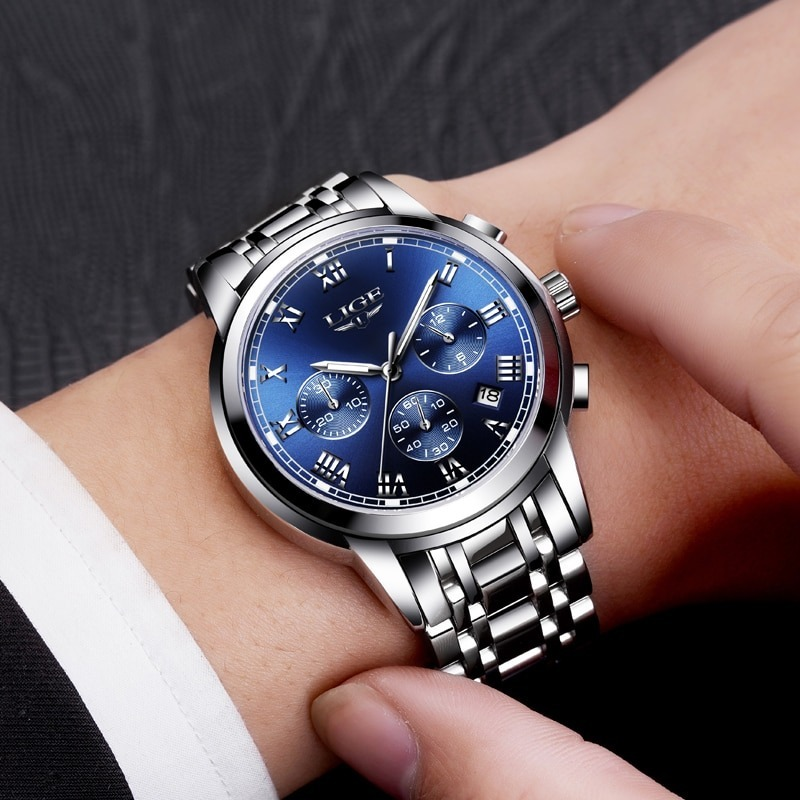 Men Sports Watches Full Steel Quartz