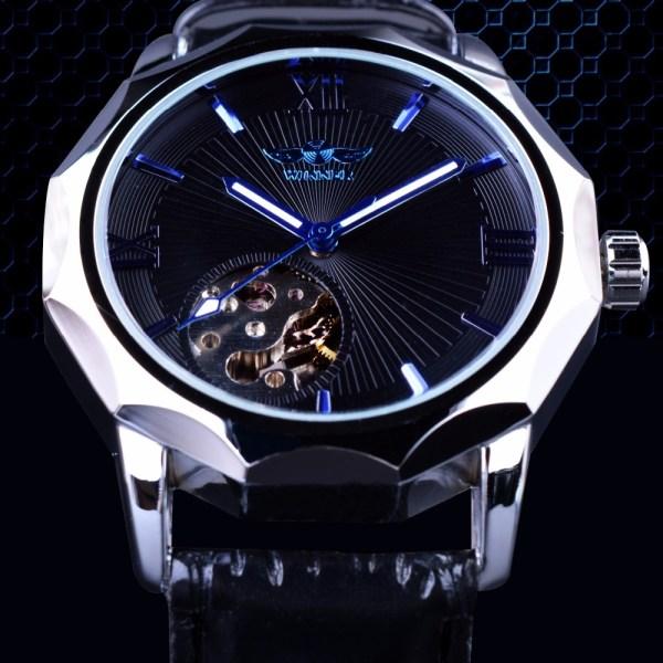 Transparent Skeleton Dial Men Watch Mechanical Clock