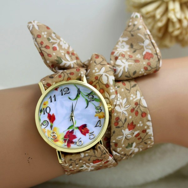 Flower Cloth Wrist Watch Dress Watches