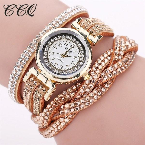 Rhinestone Watch Braided Leather Bracelet Watch