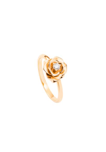 Anillo Piaget Rose en oro rosa de 18 quilates, engastado en un diamante corte brillante.