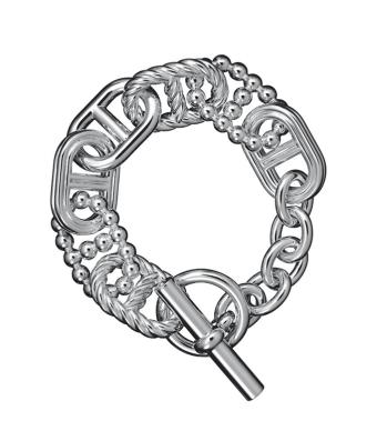 Chaîne d'ancre parade. El juego de formas, las perlas y los hilos de plata dan vida a este brazalete.