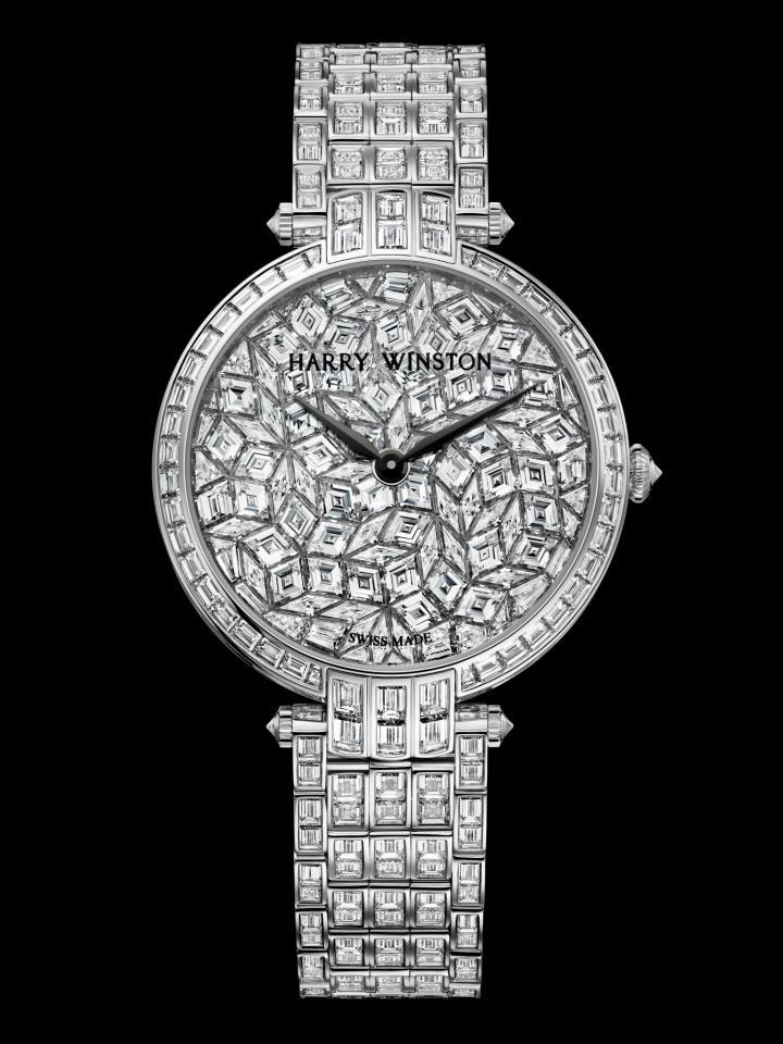 Premier Glacier: representa la carátula más complicada desarrollada por los maestros joyeros de Harry Winston. Está compuesta por 497 diamantes para alcanzar los 30 quilates.
