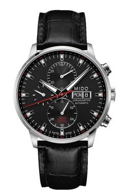 MIDO COMMANDER Chronometer Limited Edition // Ref: MO16.415.16.051 / Movimiento: mecánico automático / Calibre: ETA Valjoux 7750 cronómetro certificado COSC / Frecuencia: 28,800 a/h / Reserva de marcha: 48 h / Caja: 42.5 mm de acero inoxidable con acabado satinado / Funciones: horas, minutos y segundos; cronógrafo; fechador con indicación día de la semana y día de mes (3h) / Carátula: negra con índices Super-LumiNova® / Correa: piel con textura de cocodrilo color negro y broche de acero / Edición Limitada a 950 piezas (aproximadamente 100 para México).