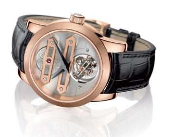 Fabricado en oro rosa de 18 quilates y 45 mm de diámetro.
