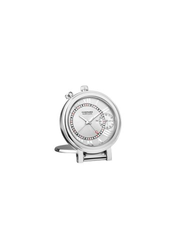 Reloj de viaje 1963 con indicación de un segundo huso horario y despertador, en acero con movimiento de cuarzo. Ref. 95020-0084