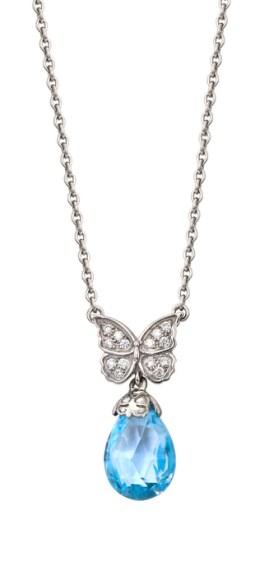 DA10443 020804 Twist pendant in white gold, blue topaz and diamonds