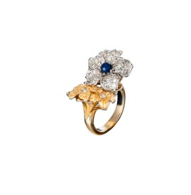 DA13502 030101 - Emperatriz maxi ring in yellow and white gold, blue shappire and diamonds