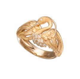 DA13551 010101 - Garzas mini ring in yellow gold and diamonds