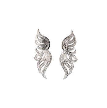 DA13554 020101 - Garzas maxi earrings in white gold and diamonds