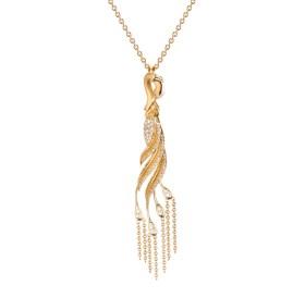 DA13555 010101 - Garzas medium pendant in yellow gold and diamonds