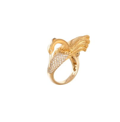 DA13558 010101 - Garzas medium ring in yellow gold and diamonds