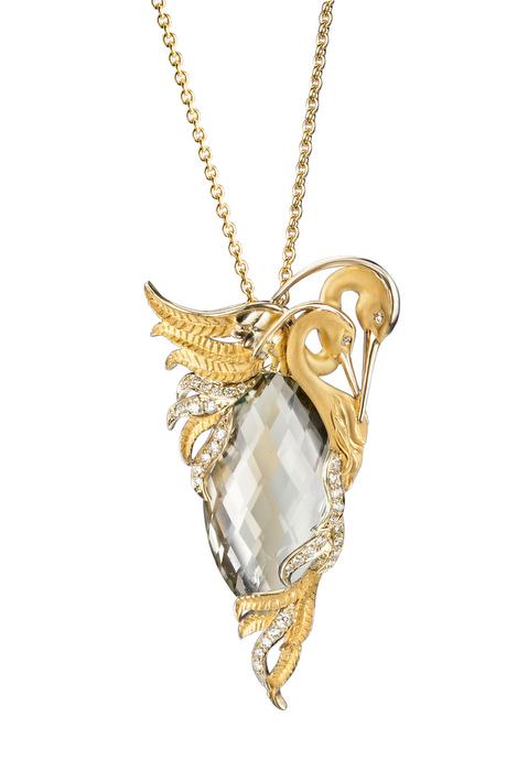 DA13562 011303 - Garzas maxi necklace in yellow gold, prasiolite and diamonds