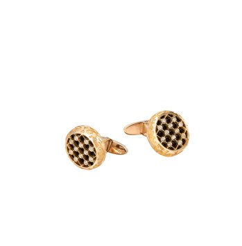DA13609 010101 - Sierpes cufflinks in yellow gold, onyx and diamonds