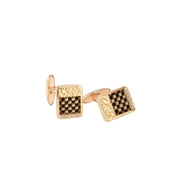 DA13610 010101 - Sierpes cufflinks in yellow gold, onyx and diamonds