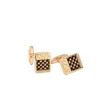 DA13610 010101 - Sierpes cufflinks in yellow gold, onyx and diamonds